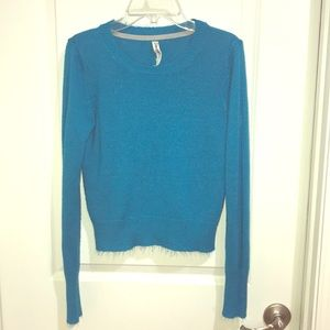 Bright blue long sleeve crop top sweater